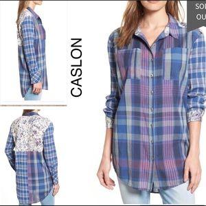 Caslon Plaid & Floral LS Button Front Tunic Shirt